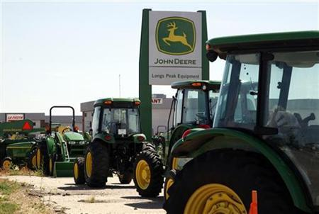 John Deere commercial vehicles are seen at a dealer in Longmont, Colorado August 18, 2010. REUTERS/Rick Wilking