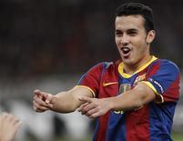<p>Pedro Rodríguez, do Barcelona, comemora gol em vitória por 3 x 0 sobre o Panathinaikos. REUTERS/John Kolesidis</p>
