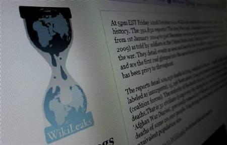 The home page of the Wikileaks.org website is pictured on a computer in Hoboken, New Jersey, November 28, 2010. REUTERS/Gary Hershorn