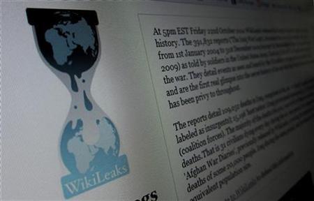 Die Wikileaks-Homepage auf einem Computer in Hoboken, New Jersey, am 28. November 2010. REUTERS/Gary Hershorn