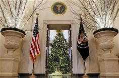 <p>A Christmas tree is seen inside the Blue Room from the Grand Foyer of the White House in Washington, December 1, 2010. REUTERS/Larry Downing</p>