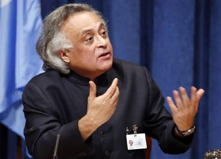 India's Environment Minister Jairam Ramesh  gestures during a news conference at the U.N. headquarters in New York September 22, 2010. REUTERS/Jessica Rinaldi/Files