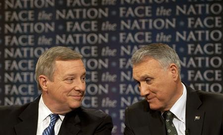 Democrat Senate Majority Whip Richard Durbin (D-IL) (L) and Republican Senate Minority Whip Jon Kyl (R-AZ) discuss the Senate's agenda during the lame duck session on CBS News' ''Face the Nation'' in Washington December 5, 2010. REUTERS/Chris Usher-Face the Nation/Handout