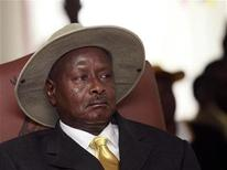 <p>Uganda's President and the leader of ruling National Resistance Movement party Yoweri Museveni attends a ceremony for his nomination as a presidential candidate at Mandela National Stadium in the capital Kampala October 25, 2010. REUTERS/James Akena</p>