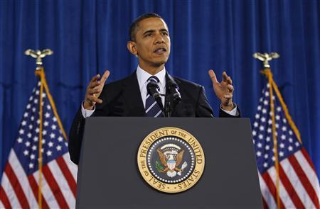 President Barack Obama speaks to workers at Forsyth Technical Community College in Winston-Salem, North Carolina, December 6, 2010. REUTERS/Jim Young