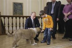 <p>Russia's Prime Minister Vladimir Putin and Dima Sokolov (front R), the boy who has proposed the dog's name for Putin, play with the Bulgarian shepherd dog named Buffy at the Novo-Ogaryovo residence outside Moscow December 9, 2010. REUTERS/Alexsey Druginyn/RIA Novosti/Pool</p>