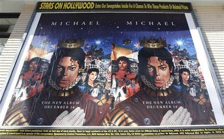 Posters promoting the launch of a posthumous Michael Jackson album titled 'Michael' are pictured in Hollywood December 8, 2010. The album contains 10 tracks and will be released on December 14, 2010. REUTERS/Fred Prouser