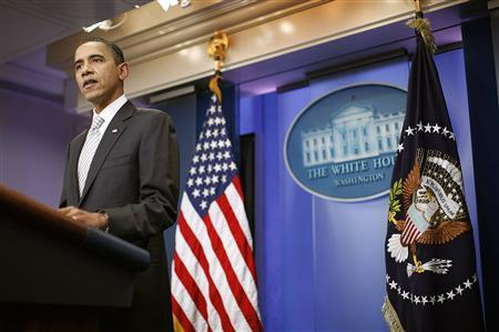 President Barack Obama makes a statement about the senate vote on middle class tax cuts in the Brady Press Briefing room of the White House in Washington, December 13, 2010. REUTERS/Jason Reed