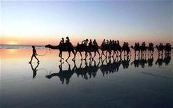 <p>A camel-train carries tourists on a sunset safari along Cable Beach at the north-west Australian town of Broome in a file photo. REUTERS/Megan Lewis</p>