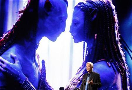 Film director and Lightstorm Entertainment Chairman James Cameron delivers a keynote address titled ''Renaissance now in imagination and technology'' in front of an image of his movie ''Avatar'' during the Seoul Digital Forum 2010 May 13, 2010. REUTERS/Jo Yong-Hak