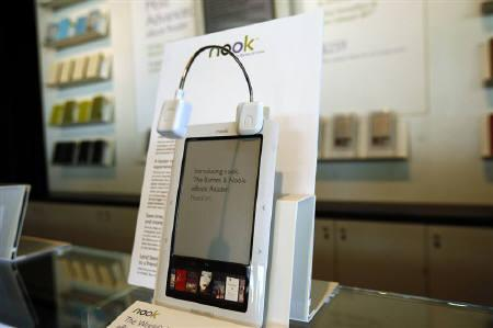 The Barnes & Noble nook, a Wireless eBook Reader, is seen during a news conference in New York October 20, 2009. REUTERS/Shannon Stapleton
