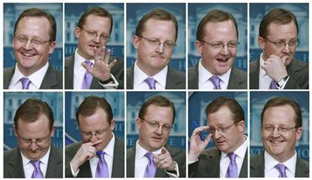 A combination photo shows White House Press Secretary Robert Gibbs during his daily press briefing at the White House, January 23, 2009. REUTERS/Jason Reed