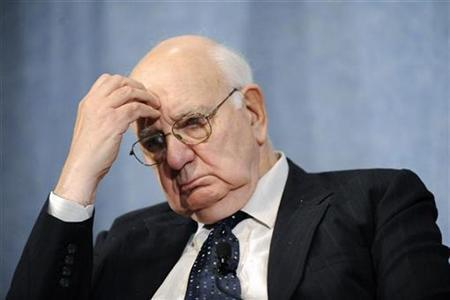 Former U.S. Federal Reserve Chairman Paul Volcker listens to comments during a panel discussion, on how the current financial crisis has changed the role of central banks, at the National Press Club in Washington October 11, 2010. REUTERS/Jonathan Ernst