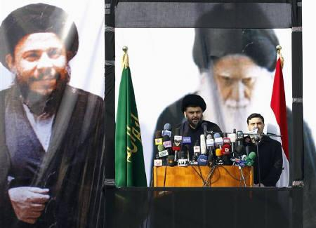Iraqi Shi'ite cleric Moqtada al-Sadr delivers his first speech after he returned to Iraq from years of self-imposed exile in Iran, at Najaf province January 8, 2011. REUTERS/Mohammed Ameen