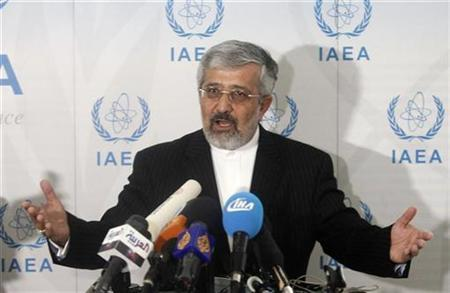 Iran's International Atomic Energy Agency (IAEA) ambassador Ali Asghar Soltanieh briefs the media during a board of governors meeting at the UN headquarters in Vienna September 15, 2010. REUTERS/Herwig Prammer