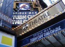 """<p>Divulgação do espetáculo da Broadway """"Spider-Man: Turn Off The Dark"""" no teatro Foxwoods, em Nova York. O musical assumiu nesta semana a liderança na bilheteria, superando por meros 58 dólares o vice-colocado """"Wicked."""" 21/12/2010 REUTERS/Shannon Stapleton</p>"""