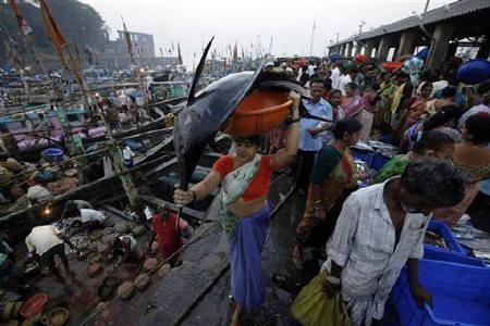A woman carries fish for sale at a wholesale market at a fish harbour in Mumbai January 14, 2011.  REUTERS/Danish Siddiqui