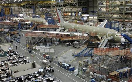 Final assembly takes place on passenger planes at Boeing's Everett, Washington plant, April 30, 2009. REUTERS/Robert Sorbo