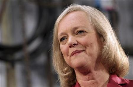 Meg Whitman listens to a question during a campaign appearance at a concrete company in Redwood City, California May 28, 2010. REUTERS/Robert Galbraith