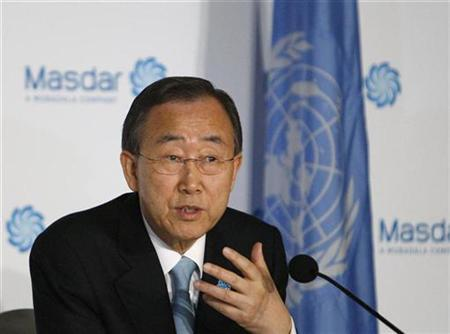 U.N. Secretary-General Ban Ki-moon speaks during a news conference at Masdar Institute of Science and Technology in Masdar City in Abu Dhabi, January 17, 2011. REUTERS/Jumana El-Heloueh