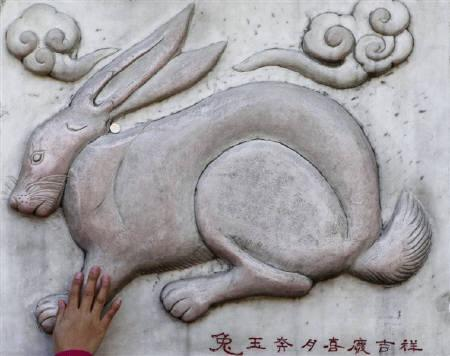 A worshipper touches a relief of a rabbit at the Bai Yun Guan (White Cloud Temple), ahead of the Chinese Lunar New Year, in Beijing Juanuary 28, 2011. REUTERS/Christina Hu