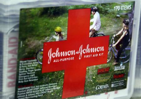 A first aid kit made by Johnson & Johnson for sale on a store shelf in Westminster, Colorado April 14, 2009. REUTERS/Rick Wilking/Files