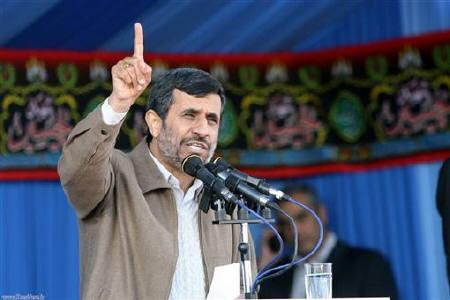 Iranian President Mahmoud Ahmadinejad gestures while speaking in Rasht, 323 km (200 miles) northwest of Tehran January 23, 2011. REUTERS/President.ir/Handout