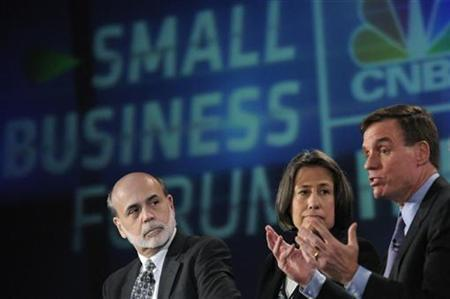 U.S. Federal Reserve Chairman Ben Bernanke (L) and Federal Deposit Insurance Corporation Chairman Sheila Bair (C) listen to comments by U.S. Senator Mark Warner (D-VA) during a panel discussion during an FDIC Small Business Forum in Fairfax, Virginia January 13, 2011. REUTERS/Jonathan Ernst