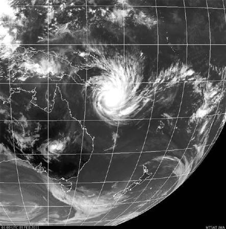 A weather satellite image obtained from the Japan Meteorological Agency shows tropical cyclone Yasi in the Coral Sea approaching the coast of Australia on February 1, 2011.  REUTERS/Japan Meteorological Agency/MTSAT-1R/Handout