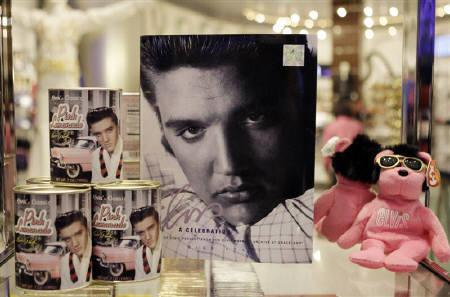 A file photo shows Elvis Presley merchandise displayed at the official Viva ELVIS store at the Aria hotel-casino in Las Vegas, Nevada, December 15, 2009. REUTERS/Las Vegas Sun/Steve Marcus/Files