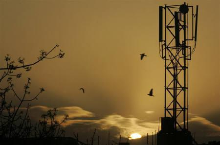 The sun rises behind a communications tower in New Delhi March 20, 2006. Two Indian companies, in which Norway's Telenor and the UAE's Etisalat now hold large stakes, were given preferential treatment in awarding mobile licences, the CBI said, in a sign a corruption scandal could spread to the business world. REUTERS/B Mathur/Files
