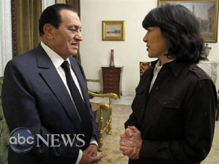 Egypt's President Hosni Mubarak speaks to ABC News' Christiane Amanpour in an exclusive interview at the Presidential Palace in Cairo February 3,  2011. REUTERS/Courtesy of ABC News/Handout