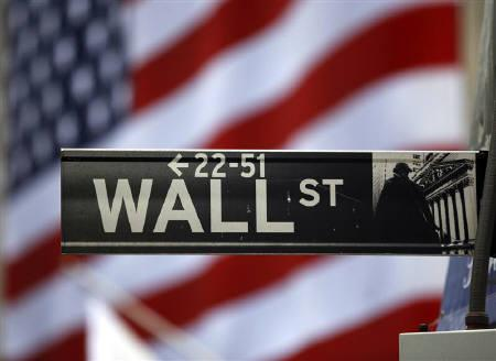 The Wall Street sign is seen outside the New York Stock Exchange, March 26, 2009. REUTERS/Chip East/Files