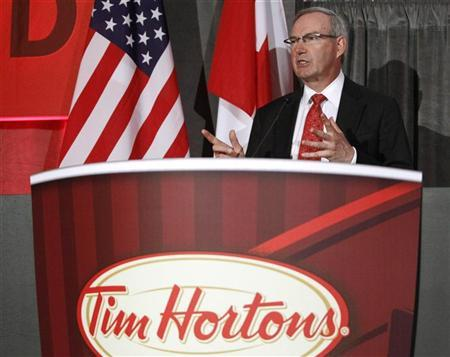 Tim Hortons Inc. President and Chief Executive Officer Donald Schroeder speaks during their annual general meeting of shareholders in Toronto May 14, 2010. REUTERS/Mike Cassese (CANADA - Tags: BUSINESS)
