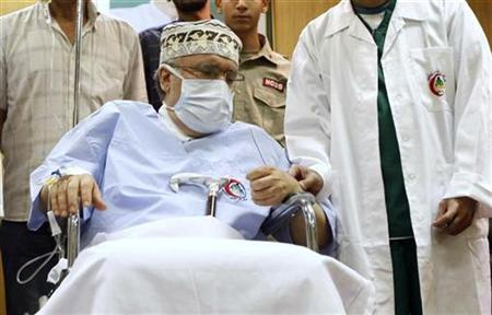 Abdel Basset al-Megrahi is seen in his room at a hospital in Tripoli in this September 9, 2009 file photo. REUTERS/Ismail Zetouny