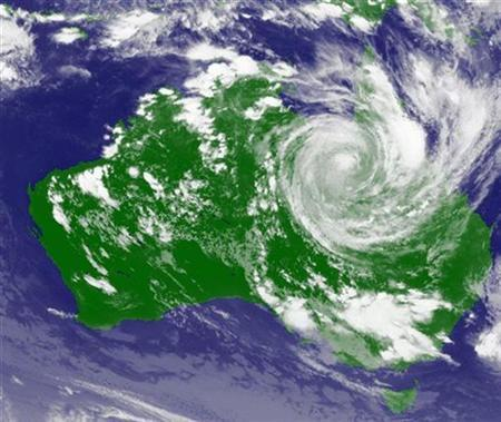 A weather satellite image, courtesy of the Japan Meteorological Agency, shows Cyclone Yasi moving inland through the state of Queensland, Australia, February 3, 2011. REUTERS/Japan Meteorological Agency/MTSAT/Handout
