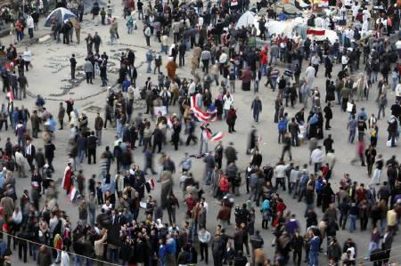 People gather in Tahrir square, Cairo February 10, 2011. REUTERS/Asmaa Waguih