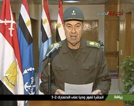 An unidentified Egyptian army spokesman speaks on state television in this still image taken from video February 10, 2011. REUTERS/Egyptian State Television via Reuters TV