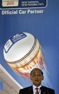International Cricket Council (ICC) chief executive Haroon Lorgat speaks before the signing of an agreement ahead of the 2011 Cricket World Cup in New Delhi February 8, 2011. REUTERS/Adnan Abidi/Files