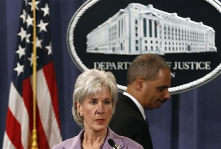 Secretary of Health and Human Services Kathleen Sebelius and Attorney General Eric Holder hold a news conference to announce Medicare Fraud Strike Force law enforcement actions in Washington, February 17, 2011. REUTERS/Jim Young