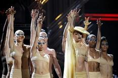"<p>Lady Gaga (3rd R) performs her new song ""Born This Way"" at the 53rd annual Grammy Awards in Los Angeles, February 13, 2011. REUTERS/Lucy Nicholson</p>"