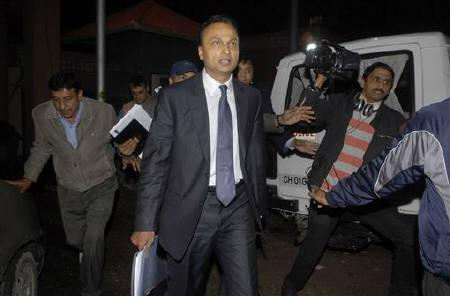 Anil Ambani, chairman of the Reliance Anil Dhirubhai Ambani Group, leaves the Central Bureau of Investigation (CBI) headquarters in New Delhi February 16, 2011. REUTERS/Stringer