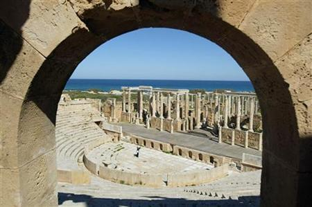 A view of a ruin of the ancient city of Leptis Magna in Al Khums, some 130km (81 miles) east of Tripoli. REUTERS/Louafi Larbi
