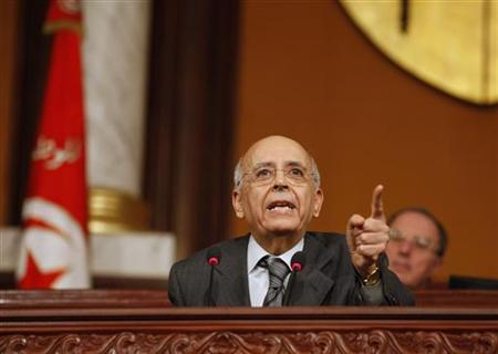Tunisia's Prime Minister Mohamed Ghannouchi speaks at the National Assembly in Tunis February 7, 2011. REUTERS/Zoubier Souissi