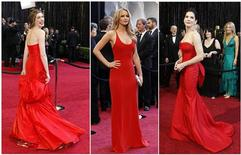 <p>Combinação de fotos das atrizes Anne Hathaway, Jennifer Lawrence e Sandra Bullock no tapete vermelho antes do Oscar em Hollywood. 27/02/2011 REUTERS</p>