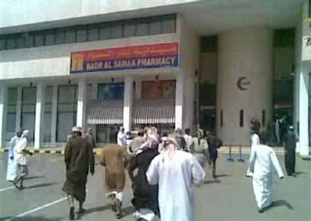 Protesters rush towards a hospital after police clashed with protesters in Oman's northern coastal town of Sohar in this February 28, 2011 still image taken from video. REUTERS/Reuters TV