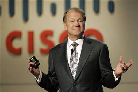 John Chambers, chief executive of Cisco Systems, speaks during a news conference at at the 2010 International Consumer Electronics Show (CES) in Las Vegas, Nevada January 6, 2010. REUTERS/Steve Marcus/Files