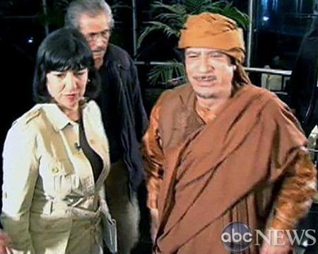 ABC NEWS' Christiane Amanpour meets Libyan President Muammar Gaddafi for an interview in Tripoli on February 28, 2011 in this image released to Reuters on Monday. REUTERS/ABC NEWS/Handout