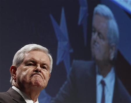 Former Speaker of the House Newt Gingrich reacts during the 38th annual Conservative Political Action Conference (CPAC) meeting at the Marriott Wardman Park Hotel in Washington, February 10, 2011. REUTERS/Larry Downing