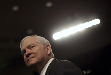 Secretary of Defense Robert Gates arrives at a Senate Armed Services Committee hearing on the ''Defense Authorization Request for FY2012'' on Capitol Hill in Washington February 17, 2011. REUTERS/Jim Young